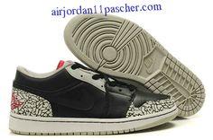 new concept 9764b c5a56 Nouveau Air Jordan 1 Low Phat Noir Varsity Rouge Blanc CeHommest Gris  Chaussures Jordan 1 Black