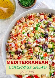 mediterranean recipes Mediterranean couscous salad with a fresh lemon herb dressing. Tossed with colorful vegetables, feta cheese, olives, and garbanzo beans. Moroccan Couscous, Mediterranean Couscous, Mediterranean Recipes, Entree Recipes, Vegetarian Recipes, Cooking Recipes, Healthy Recipes, Cooking Bacon, Cooking Wine