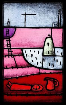"""Lightbox Collection of Peadar Lamb. """"Oileán' (Island), Artist's Collection, Lightbox, Etched and painted stained glass, 85 x 60cm, 2006"""