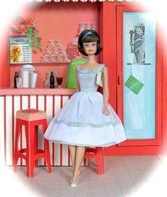 vintage barbie doll and scene