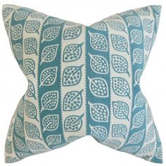 This throw pillow lends a gorgeous look to your interiors. It features a foliage pattern in shades of blue and white. Adorn your sofa, bed or seat together with solids. Made with a blend of high-quality materials: 52% acetate and 48% polyester fabric. Crafted in the USA. $55.00 #pillows #homedecor #graphic #blueandwhite #interiorstyling