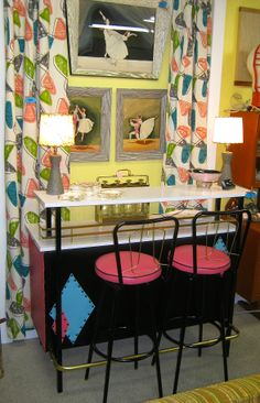 What a neat Retro and Mid-Century Modern Room with great bar, stools mad curtains. Hepcat Restorations @ Midway Mall in Sacramento, CA
