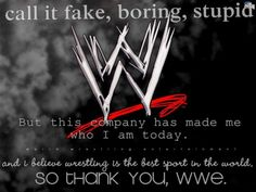 Everyone says wrestling is stupid and fake but the truth is wrestling is a life saver, an inspiration, and my addiction. Thank you, WWE <3
