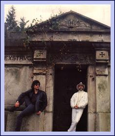Terry Pratchett & Neil Gaiman Back cover photo, first edition, Good Omens (I may be a fangirl. This inspirational, word-based board may have devolved into fangirlage.)
