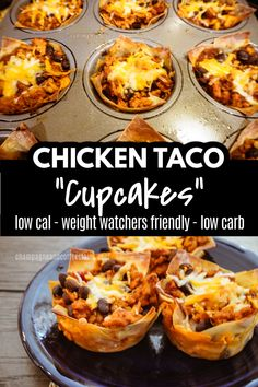 Chicken Taco Cupcakes - An Entire Meal in a Cute Cupcake! - This is a fun spin on the classic taco! Chicken taco wonton cupcakes have all the tastes of tacos b - Healthy Meal Prep, Healthy Dinner Recipes, Healthy Snacks, Healthy Eating, Simple Healthy Meals, Simple Meal Prep, Simple Food Recipes, Healty Meals, Fast Easy Meals