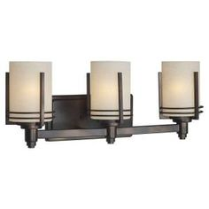 Talista Ethan 3-Light Antique Bronze Bath Vanity Light with Umber Linen Glass CLI-FRT5389-03-32 at The Home Depot - Mobile