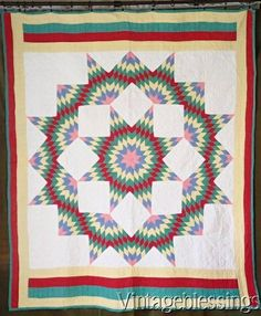 Vintage 30-40s Blazing Star QUILT Great Colors RED Blue Yellow Green CLEAN  www.Vintageblessings.com
