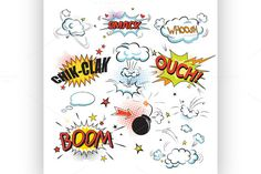Comic colored speech bubbles by Netkoff on Creative Market