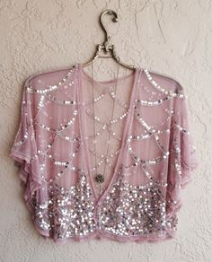 Blush Pink Sheer mesh Beaded great gatsby cape sleeve kimono crop top for Gypsy reserved for Natasha Estilo Fashion, Look Fashion, Bohemian Mode, Boho Chic, Bohemian Style, Indian Dresses, Indian Outfits, Shrug For Dresses, Long Dresses