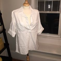Gap white pull over collard shirt size m Cute gap, white pull over shirt size M. Gently worn, in great condition. Perfect for those summer days! GAP Tops Blouses