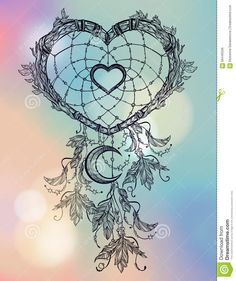 romantic drawing of a heart shaped dream catcher feathers and moon ...