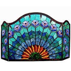 Tiffany-style Peacock Design Fireplace Screen - love this!!!! First I'm going to have to get a fireplace.....