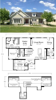 Great open concept floor plan that can be dressed up with luxurious options or kept simple. Open Concept House Plans, Open Concept Home, Building Systems, Building Plans, Building Homes, Dream House Plans, House Floor Plans, Cottage Design, House Design