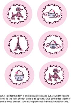 Pink Poodle Birthday Party Cupcake Toppers - free printable