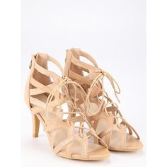 SheIn(sheinside) Faux Suede Caged Lace-Up Heeled Sandals - Beige ($37) ❤ liked on Polyvore featuring shoes, sandals, peep toe shoes, beige sandals, high heel stilettos, lace up heel sandals and lace up sandals