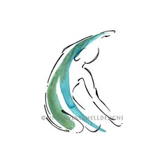 Mermaid Pilates Art Print Pilates Gift Pilates by LindsaySatchell