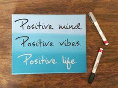 Inspirational wall art- Quote on canvas - Dorm decor wall art- Classy office Decor- Positive mind - positive vibes - blue wall art