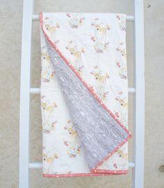Modern Wholecloth Baby Toddler Quilt Blanket - Little Girl - Pink & Grey Baby Deer, Fawn, Woodgrain, Handmade