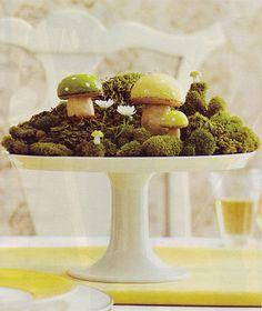 moss garden on cake stand as centerpiece