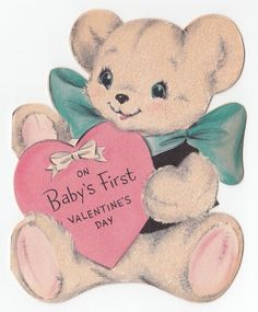Vintage Greeting Card Baby's First Valentine's Day Flocked Teddy Bear Die-Cut