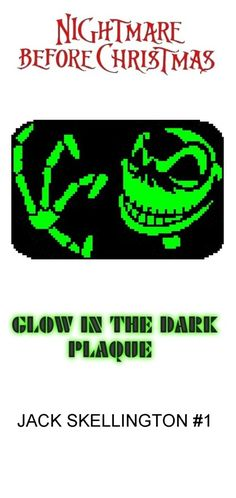 Nightmare Before Christmas' Jack Skellington #1 Glow in Dark Window Plaque plastic canvas catalog item by Michael Kramer