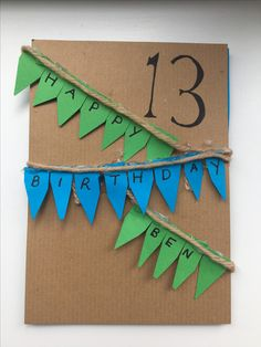 Easy birthday card idea for boys 🎉 Will need:  A5 piece of card Coloured card (for bunting) String  Glue (glue gun recommended)  A pen