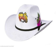 c6c6e03c89a White Straw Horse Cowboy Hat Feather Band NWT One Size Fits Toddler to age  6 Toddler