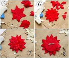 making a felt poinsettia pin