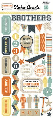 Scrapbooking for Less - Echo Park Cardstock Stickers - Brothers