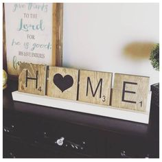 "Oversized Letter Tray with 4 5x5"" tiles . Farmhouse distressed tray . home decor . HOME"
