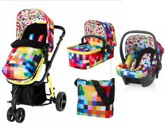 New Cosatto Giggle 2 3 in 1 Pram Travel System with FREE Hold Car Seat, Pixelate | eBay