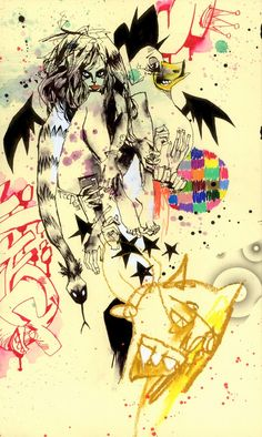 'Creeps' by Jim Mahfood. Find out more about Jim and see more of his wonderful art at wowxwow.com (Food One, drawing, painting, comics, hip hop, illustration, pin-up, sketch, urban, spray paint)
