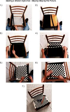 "How to weave a Shaker-style chair seat. Uses 1"" tape for the basic checkerboard style, or 5/8"" for patterns. There's also a helpful video with a complete tutorial here: http://www.stimberlake.com/chair_seating_video.html"