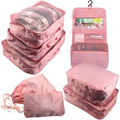 Arxus 8 Set Travel Waterproof Packing Organizers Cubes with Shoe Bag and Toiletry Bag Cute Luggage, Travel Luggage, Travel Bags, Baby Bling, Luggage Accessories, Bag Organization, Toiletry Bag, Cloth Bags, Antique Phone