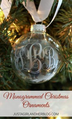 Monogrammed Christmas Ornaments - a great DIY gift or holiday decor item Diy Christmas Ornaments, How To Make Ornaments, Christmas Projects, Holiday Crafts, Christmas Bulbs, Christmas Decorations, Christmas Ideas, Holiday Ideas, Christmas Globes