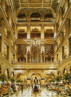Now that's a department store! Illustration of Wanamaker's Grand Court (now Macy's) - Philadelphia, PA.