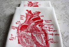 anatomical sweet heart floursack tea towel by girlscantell on Etsy, $14.00