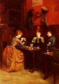 Parisiennes au Cafe, 1886 by Gaston Paqueau.