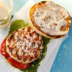 Impress your cookout crowd with these Chicken Caesar Burgers. More of our best grilled chicken recipes: http://www.bhg.com/recipes/chicken/grilled/grilled-chicken-recipes/?socsrc=bhgpin053113caesarburger=12