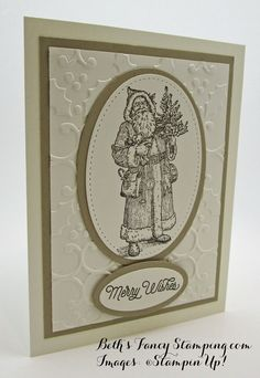 Stampin' Up! Father Christmas adorns this vintage look Christmas Card in Crumb Cake and Very Vanilla