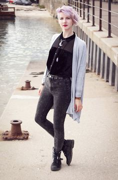 Get this look: http://lb.nu/look/7779160  More looks by Sarah S: http://lb.nu/thyla  Items in this look:  Monki Velvet Chiffon Shirt, H&M Grey Acid Wash Jeans, Etsy Amethyst Moon Necklace, Primark Grey Cardigan   #casual #minimal #street