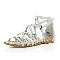 Grey gladiator sandals $80.00