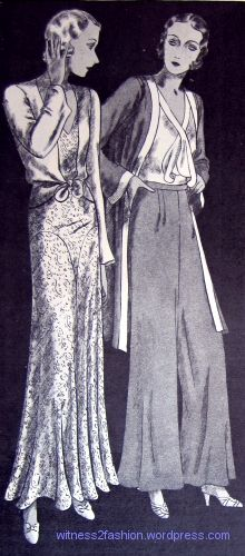 """Delineator, Sept. 1931. """"4035: For parties that will be given the bride and for entertaining in her own home — these evening pyjamas with wide, wide trousers are gay and modern. The velvet jacket ties at the waist."""" A month earlier the same pajamas were described as suitable for attending country club dances and """"dinners that are not too formal."""" """"3551: There are as many types of pyjamas this season as there are dresses. These satin ones are for informal tea parties and afternoons with a…"""