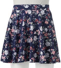 $11, Navy Floral Skater Skirt: So Skater Skirt Juniors. Sold by Kohl's. Click for more info: http://lookastic.com/women/shop_items/213007/redirect