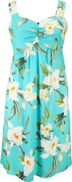 Aloha Kai Hawaiian Print Sun Dress in Blue, Womens Tropical Hawaiian Dresses Shirts Clothing, W188o-AM-Blue - Paradise Clothing…