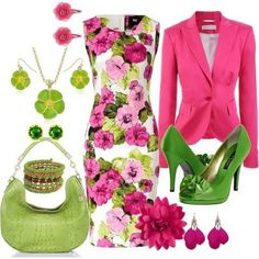 Pink and green. Would never wear this outfit, but I love this combo. Green Fashion, Work Fashion, Fashion Looks, Spring Fashion, Jw Mode, Looks Chic, Classy Outfits, Dress To Impress, Spring Outfits