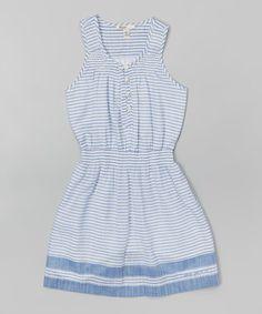 Look what I found on #zulily! Blanc Stripe A-Line Dress - Toddler & Girls #zulilyfinds