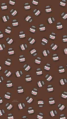 Nutella - My Wallpaper Cute Food Wallpaper, Cute Patterns Wallpaper, Cartoon Wallpaper Iphone, Cute Disney Wallpaper, Aesthetic Pastel Wallpaper, Kawaii Wallpaper, Wallpaper Ideas, Fabric Wallpaper, Trendy Wallpaper