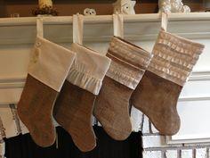 Shabby chic burlap stocking, Christmas stocking, burlap stockings, Christmas decor, on Etsy, $28.00