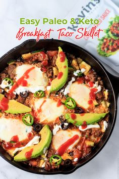 Easy Paleo Breakfast Taco Skillet is a simple to prepare, one skillet, super delicious and hearty, paleo, keto, low carb, Mexican breakfast. #eatcleanlivehappy #kevinsnaturalfoods #kevinsrecipechallenge Breakfast Tacos, Low Carb Breakfast, Healthy Breakfast Recipes, Clean Eating Recipes, Brunch Recipes, Mexican Breakfast, Breakfast Skillet, Free Breakfast, Breakfast Time